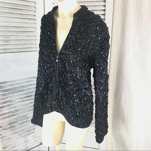 Black sequined zip front jacket sizeLG by MSK